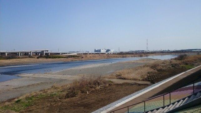 堤防から望む相模川